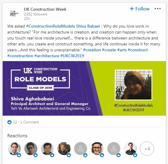 I ,  UK Construction Role Model 2019 program , Shiva Aghababaei